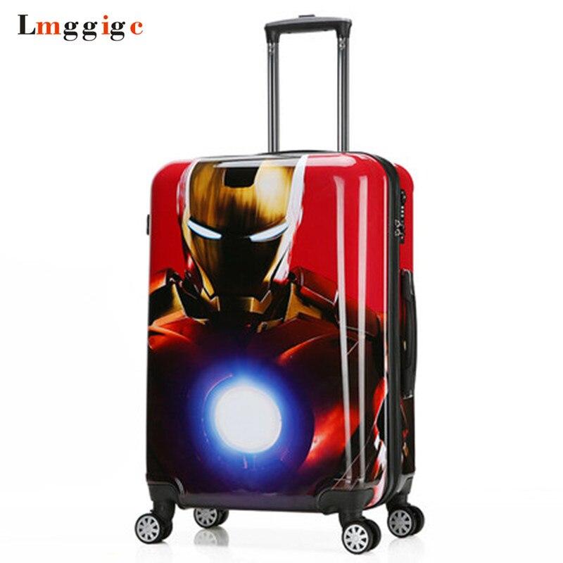 Spider-Man sacchetto Dei Bagagli, Batman Valigia, bambino di Viaggio Box, Capitan America Trolley, Iron Man Caso Cabina, Bambini di Rotolamento Carry-On
