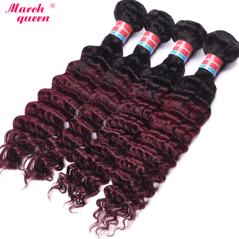 Hospitable Ombre Malaysian Deep Wave Curly Hair Bundles T1b/99j Dark Root 2 Tone Color Human Hair Extensions 4 Bundles March Queen Hair Weaves