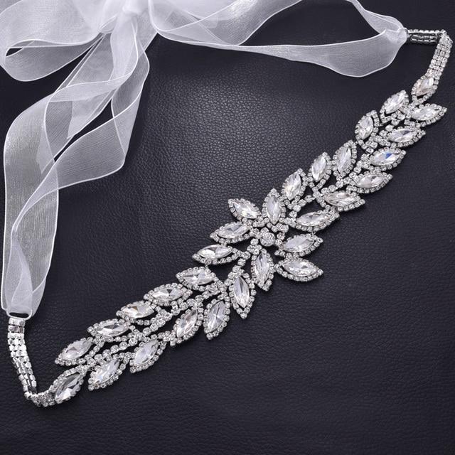 Bridal sash rhinestones leaf crystal long wedding dress ribbon belt crystal  appliques women accessories glass strass BT-38 39e96aa1a634