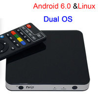 Nieuwste Dual OS Tvip 605 Amlogic S905X Quad Core 1 GB/8 GB Android 6.0/Linux Smart TV Box Ondersteuning H.265 Airplay DLNA wifi 2.4G/5G