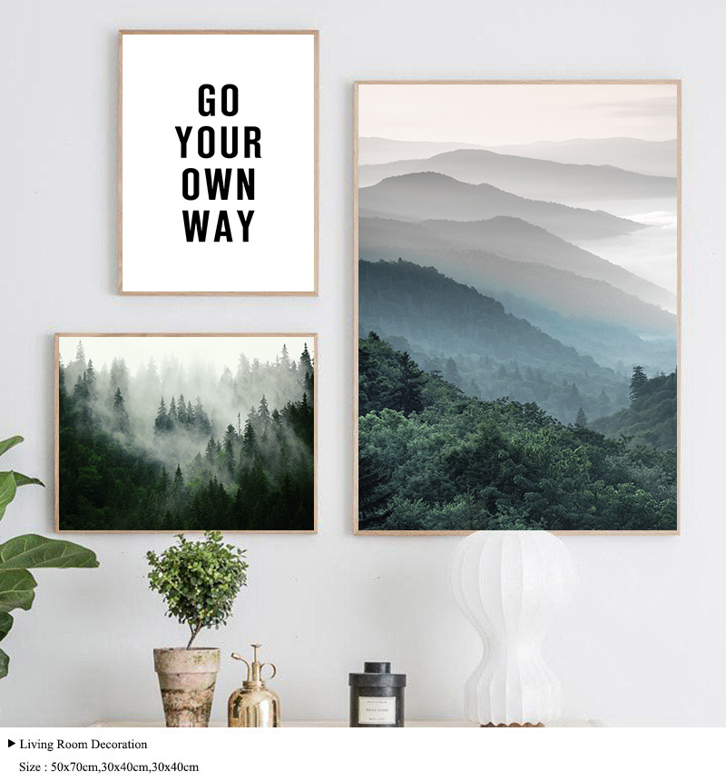 HTB1P2Uld3mH3KVjSZKzq6z2OXXa4 Mountain Foggy Forest Picture Nature Scenery Scandinavian Poster Nordic Decoration Landscape Print Wall Art Canvas Painting