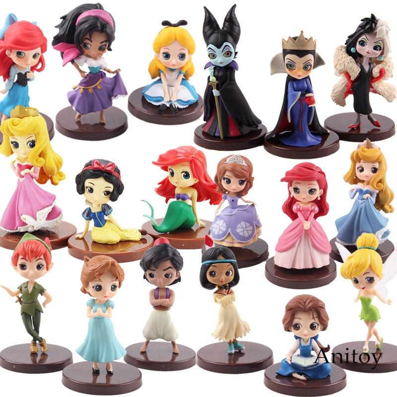 3 unids/set lindo Q Posket muñeca princesa enredado Tiana princesa Jasmine PVC figura de acción modelo de juguete muñecas 5-8 cm