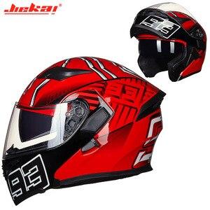 Image 1 - Kış DOT JIEKAI JK902 motosiklet kask çift Lens motosiklet MOTO Motocross kaskları siyah beyaz kırmızı M L XL XXL