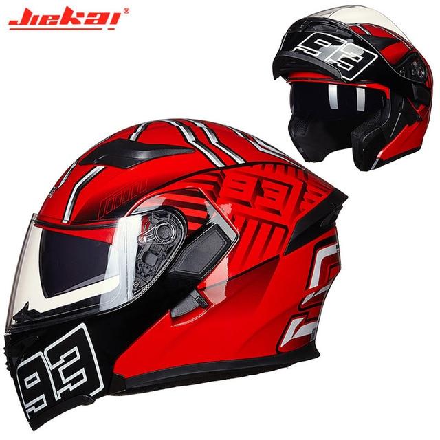 Kış DOT JIEKAI JK902 motosiklet kask çift Lens motosiklet MOTO Motocross kaskları siyah beyaz kırmızı M L XL XXL
