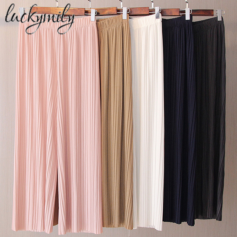 luckymily 2019 New Spring and Autumn Solid Color Womens Pleated   Wide     Leg   Palazzo   Pants   with Elastic Band of 8 Color Casual   Pants