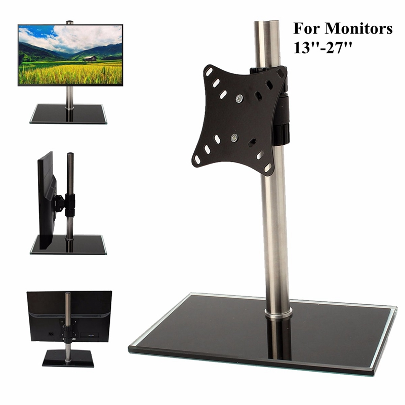 Firm Strong Single LCD LED Monitor TV Bracket Mount Desk Stand Holder For 13-27'' Screens Adjustable Laptop Computer Stand buy monitor or tv for computer