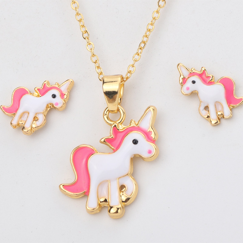 Hot Sale Pink Unicorn Necklace Earring Animal Jewelry Sets Cartoon Horse Jewellery Set For Girls