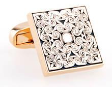 Высококачественные Квадратные золотые запонки для мужчин подарочные
