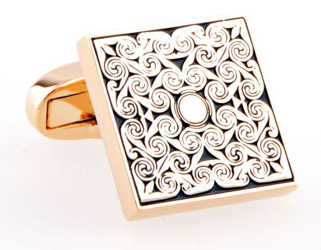High Quality Square Gold Cufflinks for men s abotoaduras gift Shirt cuff button Retro Groom Wedding