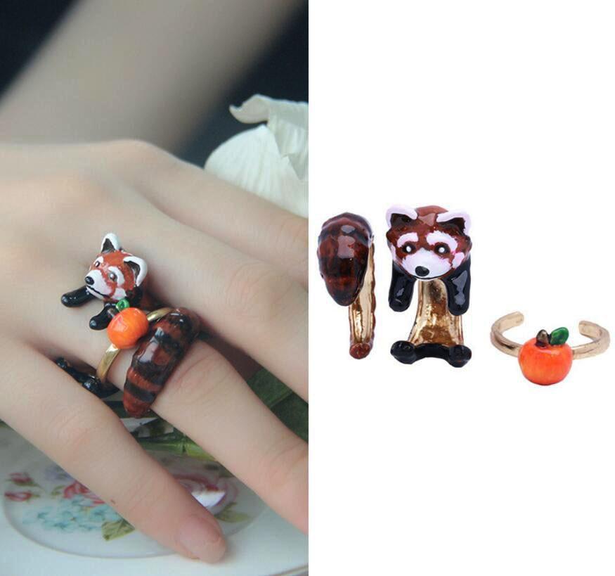 CSxjd Enamel glaze exquisite Cute small squirrel ring fashion hyperbole Ring