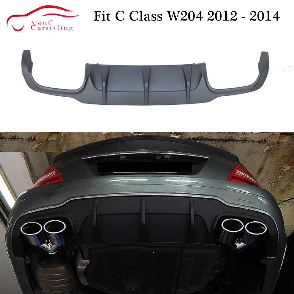 W204 Rear Bumper Diffuser Lip Spoiler for <font><b>Mercedes</b></font> C class W204 with AMG Package <font><b>2012</b></font> - 2014 <font><b>C300</b></font> C350 C400 image