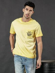 SIMWOOD Vintage T-Shirt Washed Men Fashion 100%Cotton Letter Hip-Hop-Top Print Plus-Size