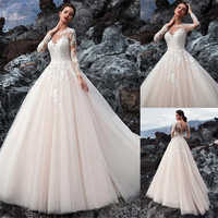Exquisite Tulle Jewel Neckline A-line Wedding Dress With Beadings Lace Appliques Long Sleeves Beach Bridal Gowns