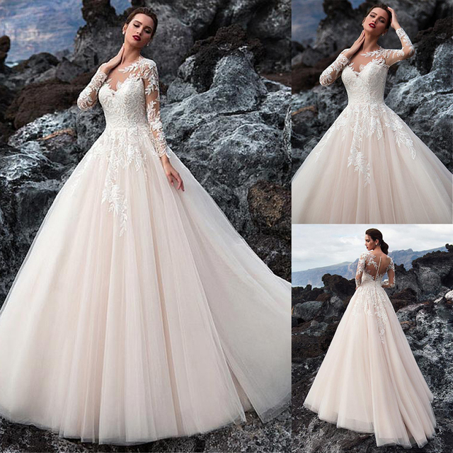 Exquisite Tulle Jewel Neckline A line Wedding Dress With Beadings Lace Appliques Long Sleeves Beach Bridal Gowns