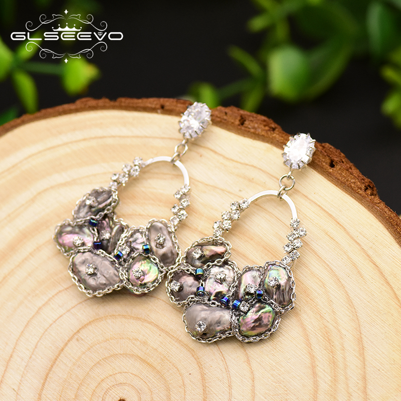 XlentAg Handmade Natural Black Pearl Drop Earrings For Women Pave Zircon Wedding Jewelry Boucle D 39 oreille Femme 2019 GE0696 in Earrings from Jewelry amp Accessories
