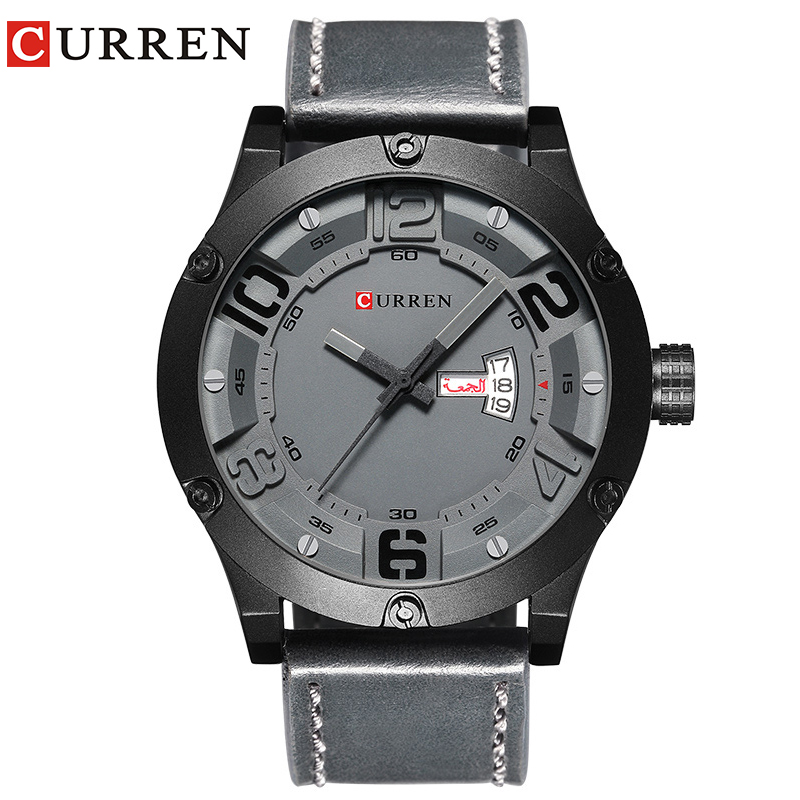 CURREN Men's Watch Modern Style Sports Wrist Watch Week Date Display Leather Strap Quartz Male Clock Waterproof Watches