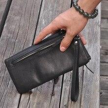 New mens leather black long-style wallet zipper hand bag high-grade 3018