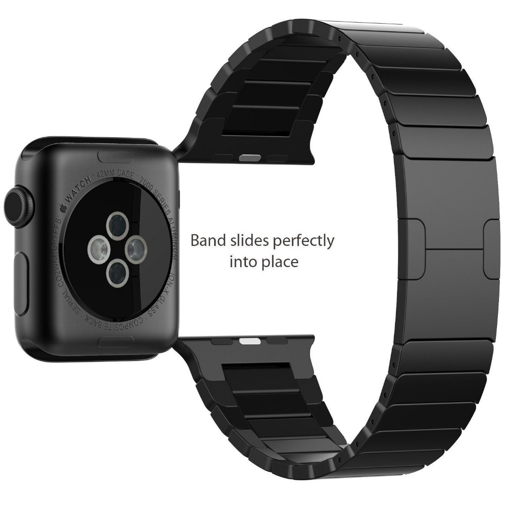 11.11 Silver Black High Quality 316L Stainless Steel band link bracelet & Luxury stainless Metal strap for apple watch 38mm 42mm