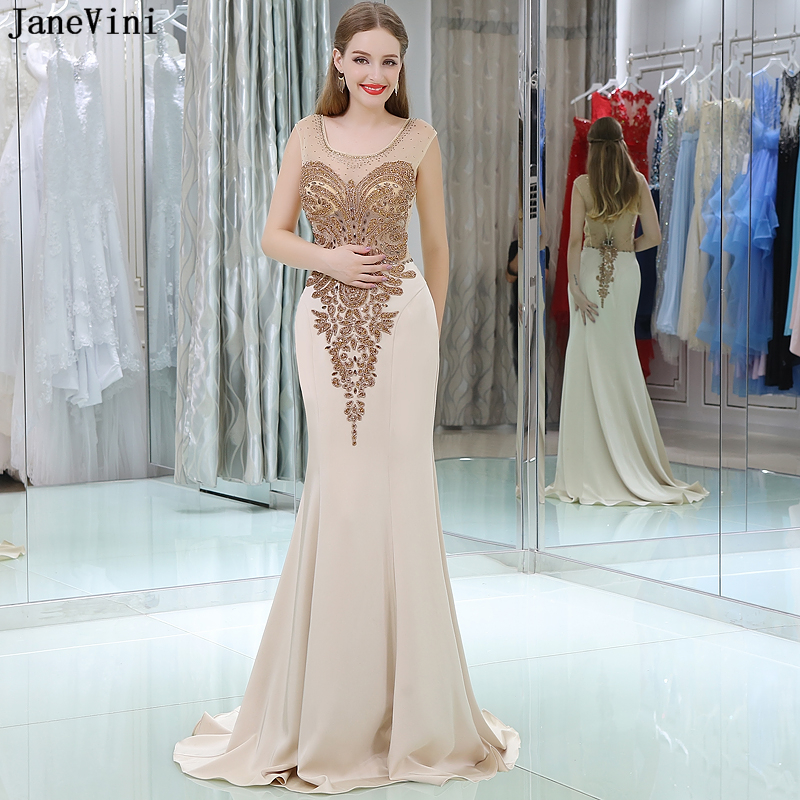JaneVini Gorgeous Champagne Crystal Beaded Mermaid Long   Bridesmaid     Dresses   Scoop Neck Sheer Back Saudi Arabia Satin Prom Gowns