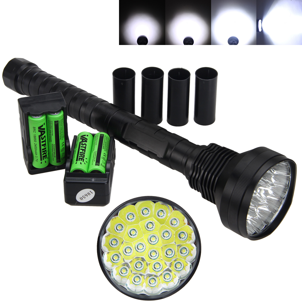 32000LM 24x XM-L T6 LED Flashlight 5 Modes Torch 4x18650+2x18650 Battery Charger