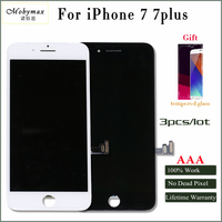 Mobymax 3pcs Pantalla For IPhone 7 7plus LCD Display Touch Screen Digitizer Complete Replacement In Black