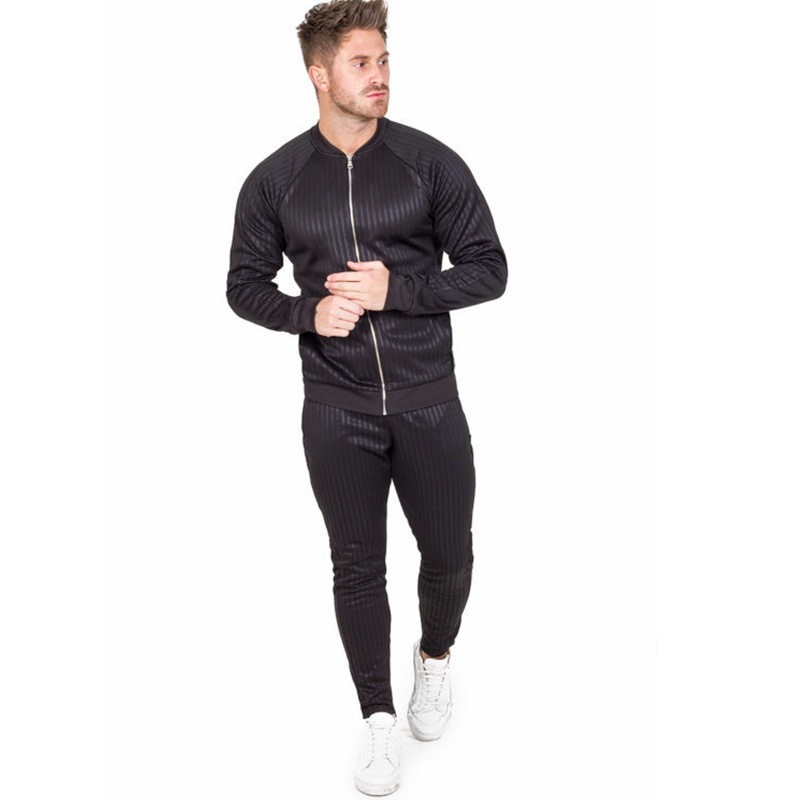 Spring and Autumn Men's Zipper Sports Suit Fitness Clothing Fashion Stripe Two piece Long Sleeve Stand Collar Slim Jacket Pants