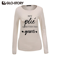 GLO STORY 2017 New High Quality Long Sleeve T Shirts Women Casual Print Cotton Tops Solid