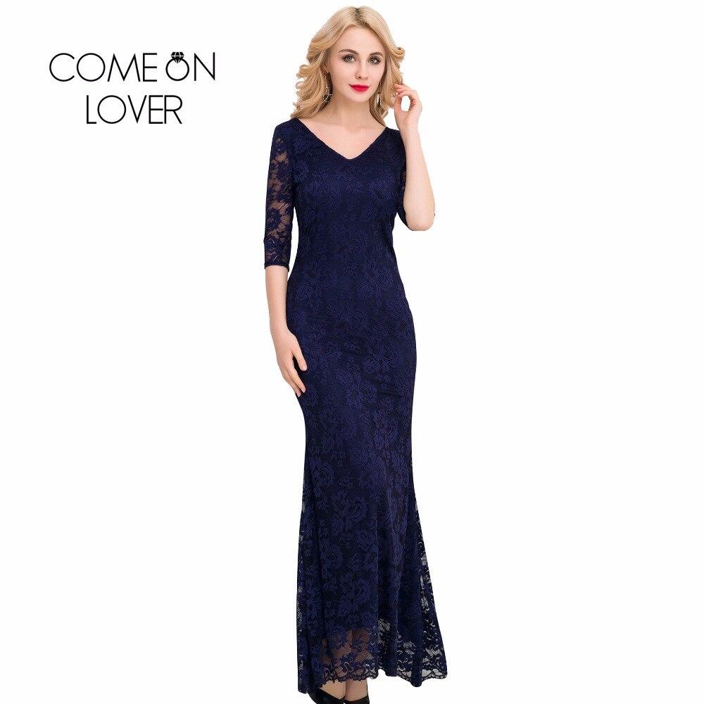 Rentrée automne femmes dentelle robe bal De promo mariage longue robe V noir élégant grande taille Vestidos Largos De Verano VI1057