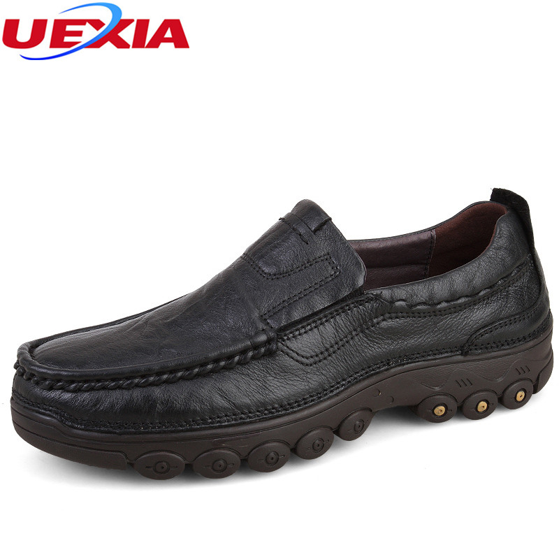 UEXIA Leather Fashion Men Shoes Handmade High Quality Flats Casual Lace-up Comfortable Rubber Soles Nonslip  Footwear Moccasins vmuksan hot sale suede leather shoes men high quality lace up men casual shoes new style comfortable men s spring shoes