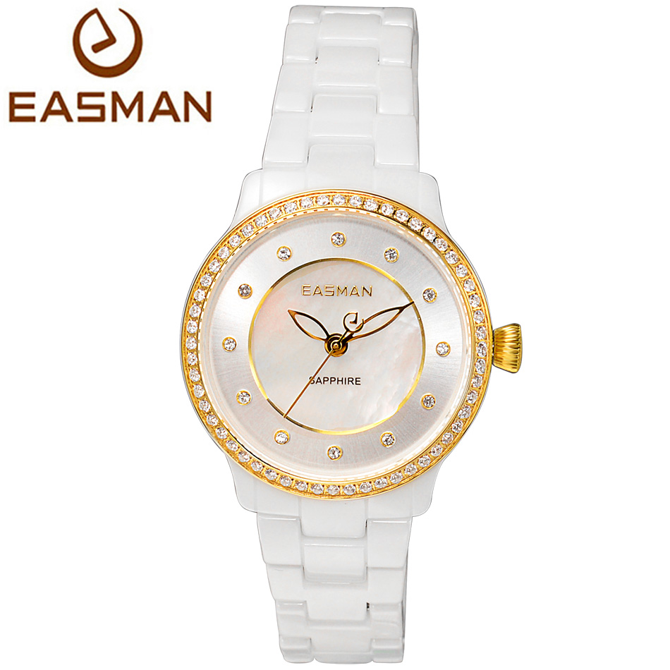 EASMAN Womens Watches Ceramic Band Mother Of Pearl Dail Zircon Gems Sapphire Glass Water Resistant Ladies