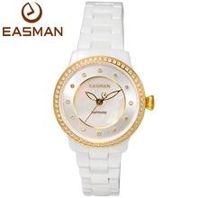Easman женские часы белый керамическая перламутр циркон камни сапфировое стекло водостойкой женские часы наручные
