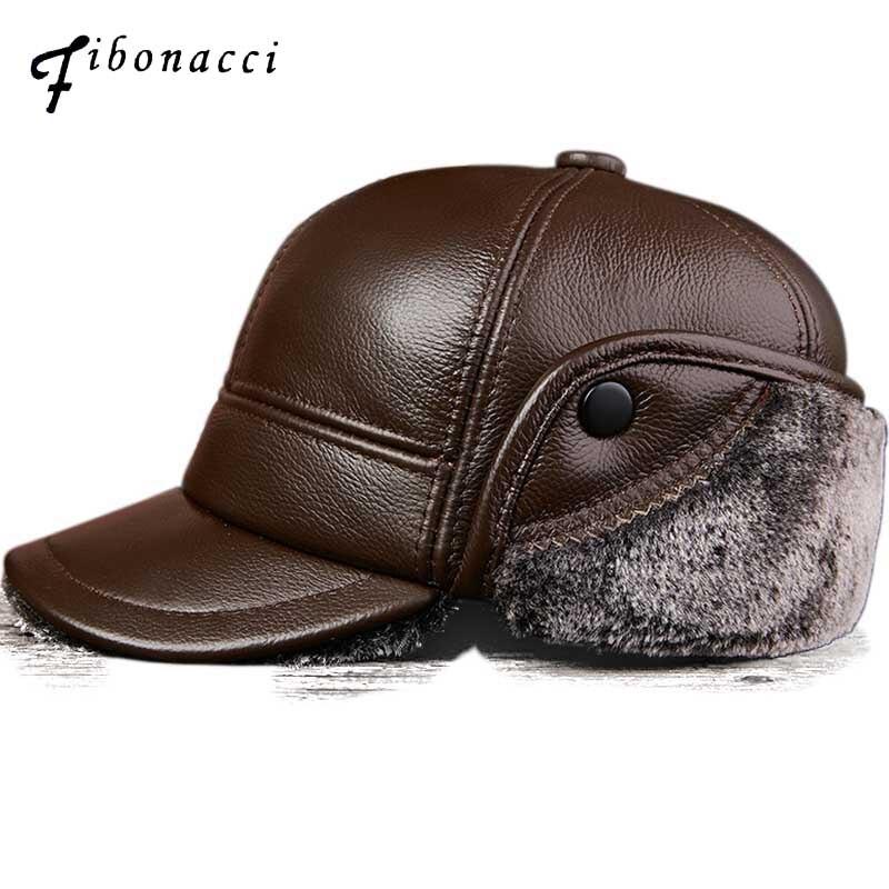 Fibonacci hiver hommes en cuir casquette de Baseball en cuir véritable chaud Plus épais velours earrabat chapeau moyen âge vieillesse papa casquette