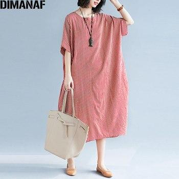 DIMANAF Plus Size verano de las mujeres rayas playa de lino Batwing manga  mujer Casual dulce estilo de gran tamaño vestidos largos 2018 1a2dc90151b