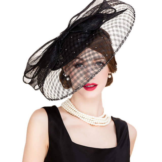129dcdc9710 Online Shop FS Black Sinamay Vintage Hats For Women Philippines Large Brim  Wedding Dress Hat Fascinator Ladies Kentucky Derby Hats Church