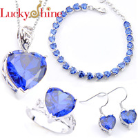 Luckyshine Crystals Zircon Romantic Heart Pendant Necklaces Bracelets Rings For Women Wedding Bride Fashion Jewelry Sets NEW
