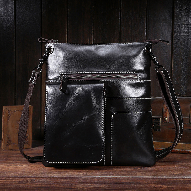 100% Genuine Leather Men Casual Messenger Bag Male Business Oil Wax Leather Shoulder Bags Retro Travel Bag Briefcase iPad Holder