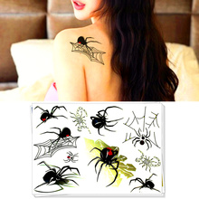 M-Theory Spider Web Men Flash Tattoos 17x10cm ASTM Safe Pigment Temporary Tatoos Body Art Swimsuit Dress Makeup