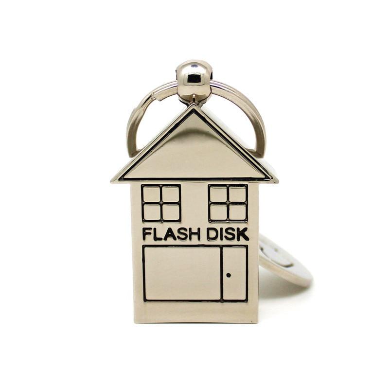 Silver Metal Lovely Keychain Pendrive House Shape USB Flash Drive 4GB 8GB 16GB 32GB Memory Stick Pen Drive 64GB U Disk
