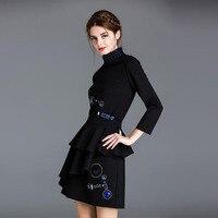 Newest 2017 Designer Runway Suit Set Women's Stunning Sequined Beading Tops Skirt Suit Set