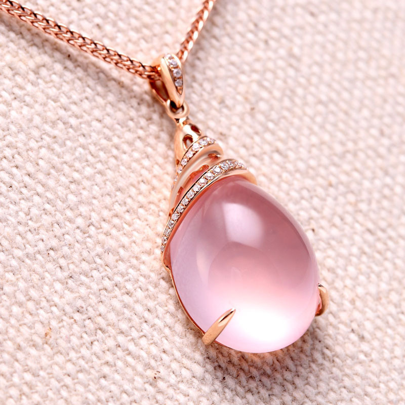 pink crystal ps quartz rose jewelries women pendant necklace men stone beadnova