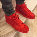 2016 Suede Leather Brand High Top Casual Shoes Rivets Red Studded Lace Up Zapatos Hombre Flats Trainers Plus Size EU45