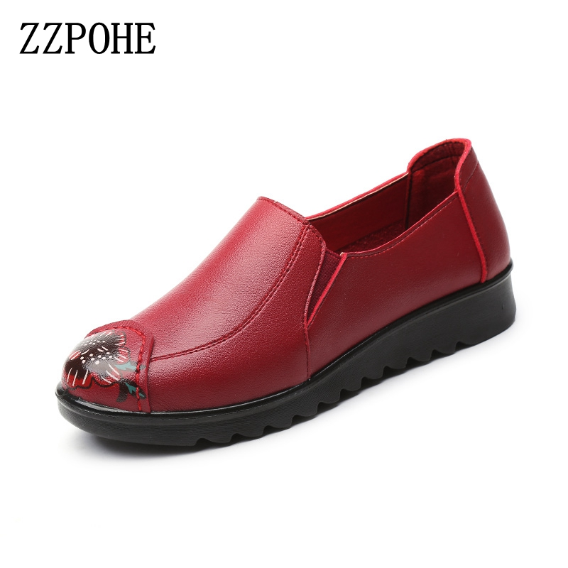 ZZPOHE Spring Autumn Women Fashion Leather Shoes Women's Casual Slip On Soft Flats Shoes Mother Plus Size Work shoes beyarne rivets decoration brand shoes flats women spring autumn fashion womens flats boat shoes sexy ladies plus size 11