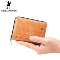 WILLIAMPOLO Credit Card Holder Genuine Leather id Card Wallet Khaki PVC Card Slot Pockets 3 Size