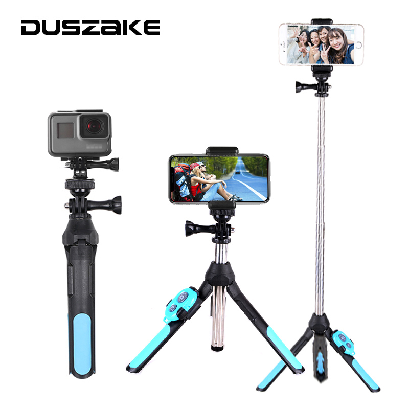DUSZAKE Selfie Stick Bluetooth Tripod For Xiaomi Wireless Monopod For Phone Mini Selfie Stick Bluetooth Tripod For iPhone Xiaomi cell phone tripod with bluetooth remote control mobile phone selfie stick mini tripod for sport camera light monopod with clip