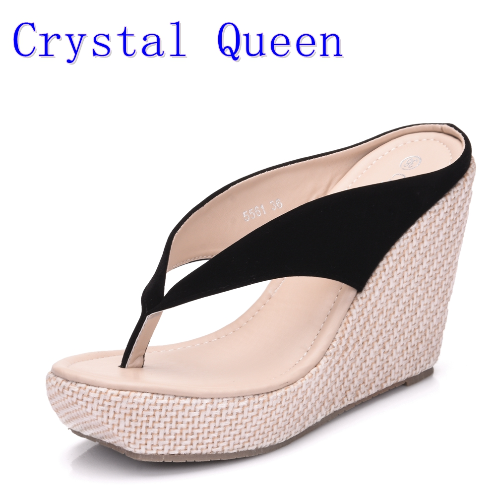 Crystal Queen Casual Fashion Sandals Shoes Beach Women Sandals Bohemia Wedges Flip Flops Lady Slippers Women Summer Style Shoes xiaying smile summer new woman sandals casual fashion shoes wedges heel women pumps bling crystal sweet lady style women shoes