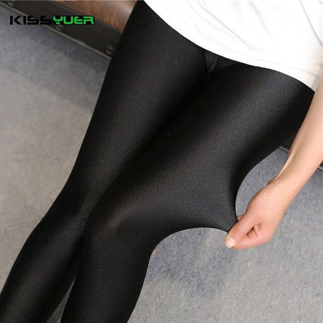 KISSyuer 2016 New arrival Shining sexy leggings lycra spandex leggings for lady Good elastic Women push up shiny leggings KL0067