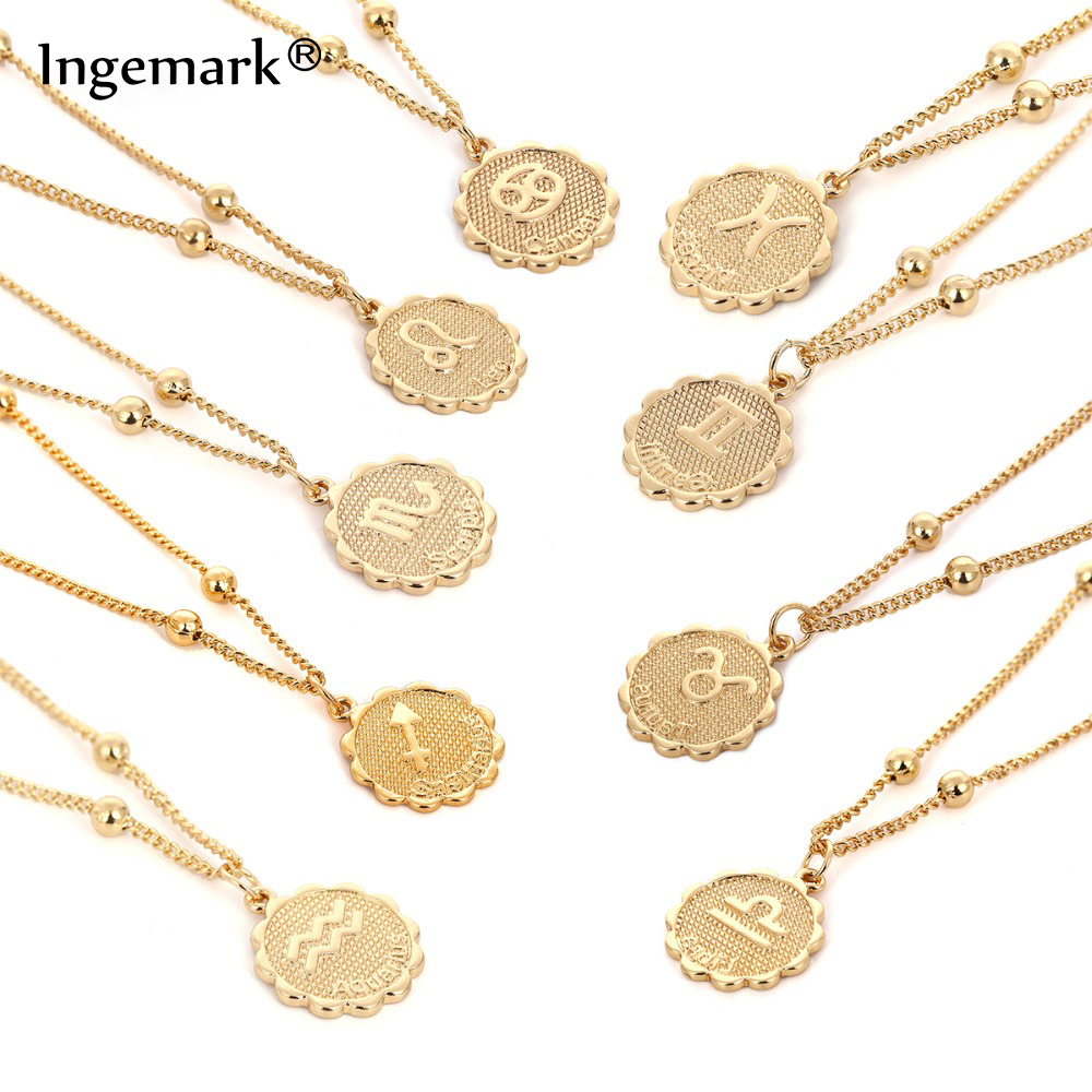 Ingemark 12 Zodiac Constellation Carve Coin Pendant Necklace Simple Copper Leo Beads Clavicle Chain Necklace Sexy Couple Jewelry pendant
