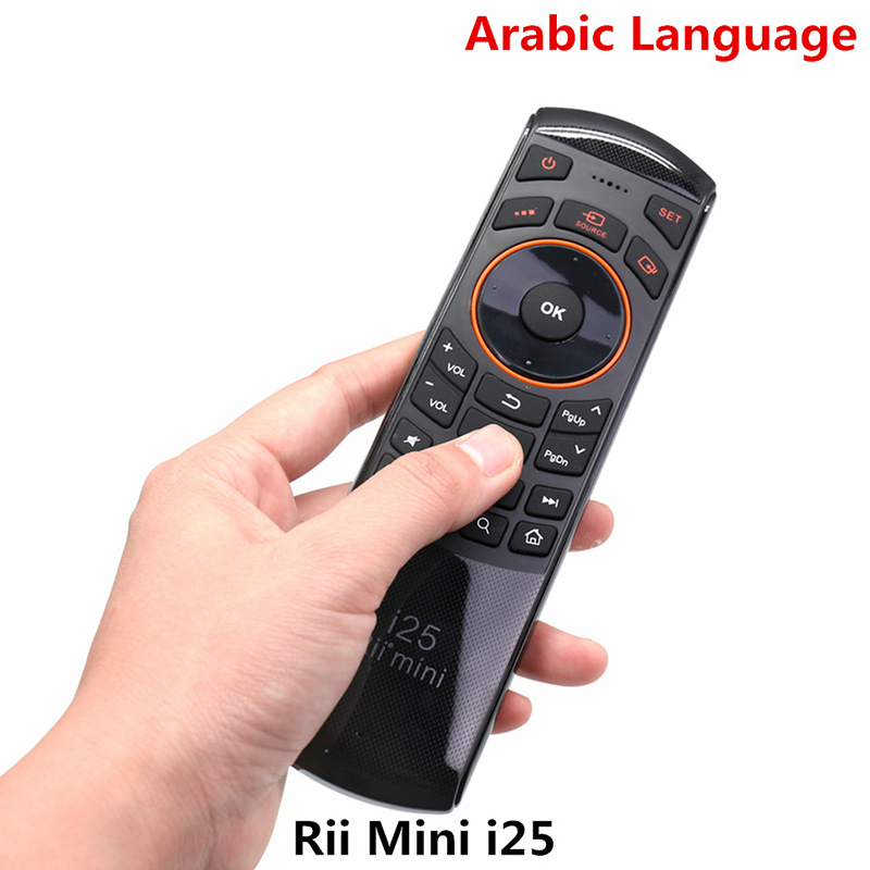Original Rii Mini i25 2.4G Air Fly Mouse Remote Control with Arabic Keyboard for Google Smart Android TV BOX HTPC IPTV RT-MWK25 arabic keyboard rii mini i25 k25 fly air mouse 2 4ghz wireless keyboard remote controller for android tv box htpc pc tablet