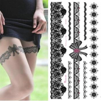 цена на hot sale temporary Waterproof tattoo sticker for women sexy black wedding bracelet Jewelry lace tattoo stickers wholesale QC8503