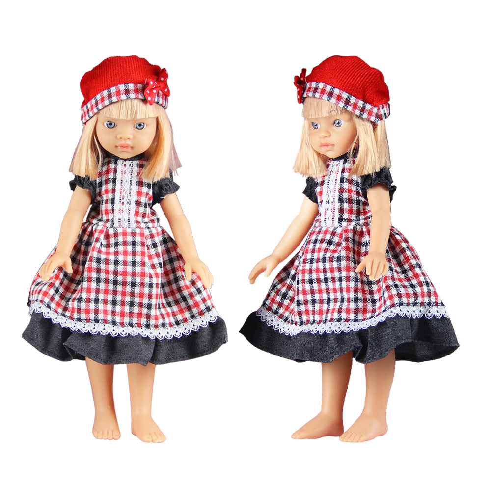 1 Piece 33cm Simulation Soft Vinyl Dolls Girls Toy Plaid Skirt Red Knitting Hat Girl's Doll Kids Baby Girl Toy Reputation First